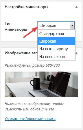 Как на странице записи изменить тип миниатюры?